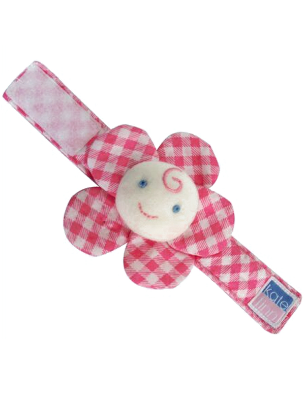 Pink Lattice Flower Wrist Rattle Baby Toy by Kate Finn Australia