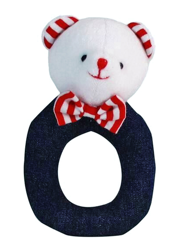 Denim Bear Baby Ring Rattle by Kate Finn Australia