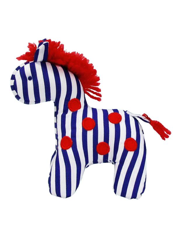 Dotty Navy Stripe Mini Horse Baby Toy by Kate Finn Australia