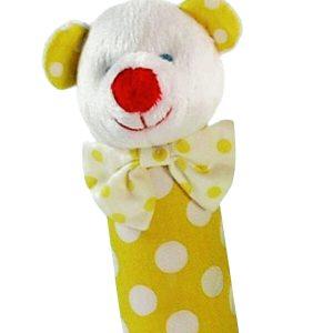 Yellow Polka Dot Bear Squeaker by Kate Finn Australia