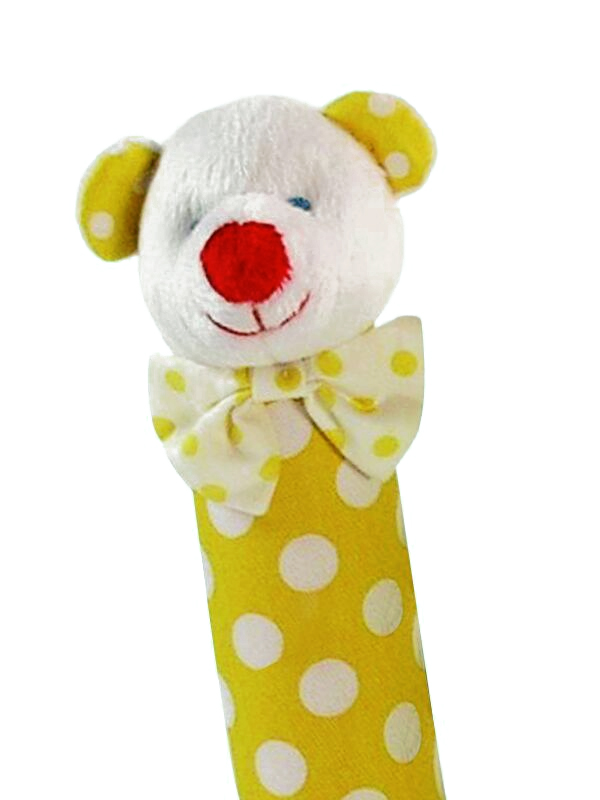 Yellow Polka Dot Bear Squeaker by Kate Finn Australia