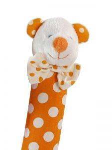 Orange Polka Dot Bear Squeaker by Kate Finn Australia