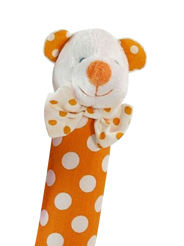 Orange Polka Dot Bear Squeaker by Kate Finn Australia