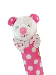 Pink Polka Dot Bear Squeaker by Kate Finn Australia