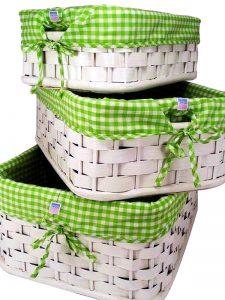Green Gingham Lined Basket Set of 3