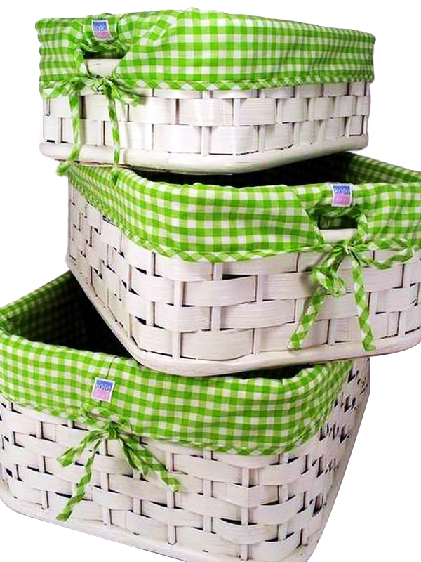 Green Gingham Lined Basket Set of 3