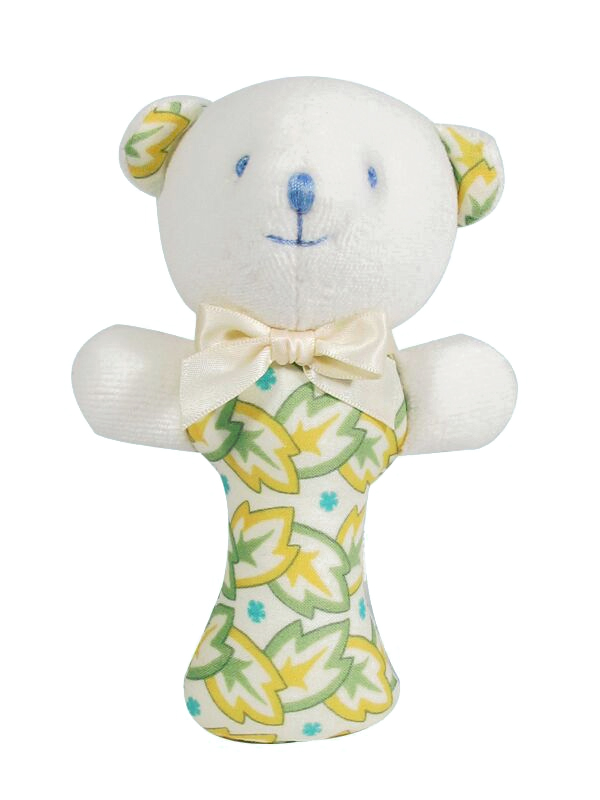 Yellow Leaf Bear Baby Rattle by Kate Finn Australia