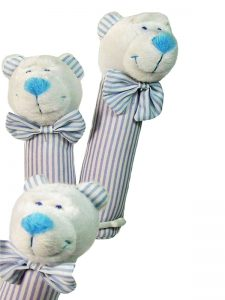 Blue Stripe Bear Squeaker by Kate Finn Australia