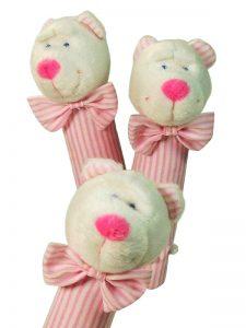 Pink Stripe Bear Squeaker by Kate Finn Australia