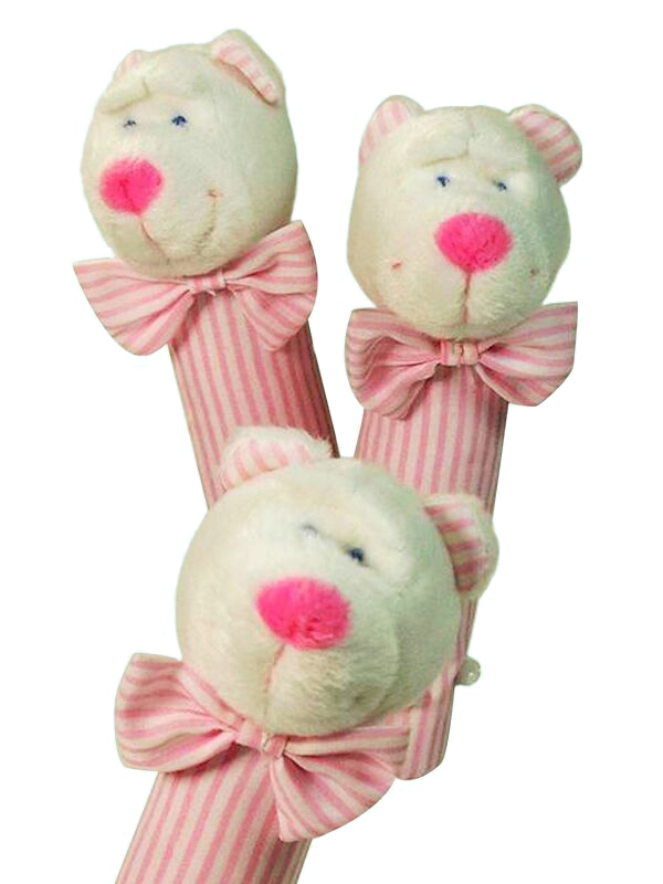 Pink Stripe Bear Squeaker by Kate Finn Australia