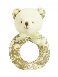 Antique Toile Bear Baby Ring Rattle by Kate Finn Australia