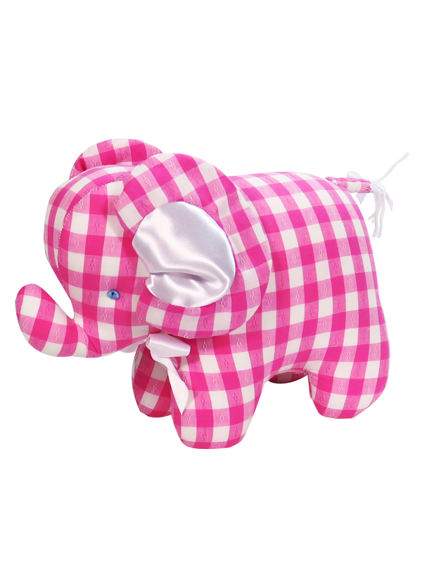 Lipstick Check Elephant Baby Toy by Kate Finn Australia