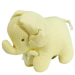 Caramel Check Elephant Baby Toy by Kate Finn Australia