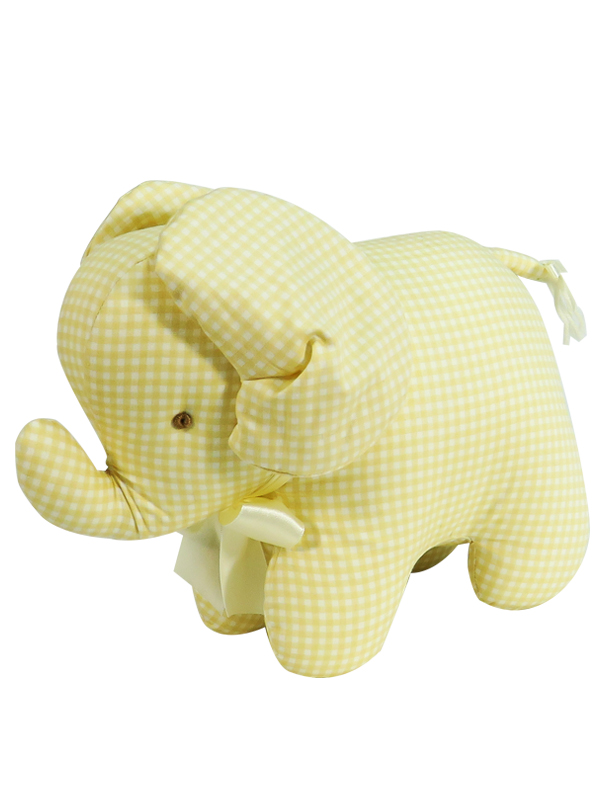 Caramel Check Elephant Baby Toy by Kate Finn Australia