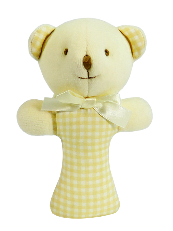 Caramel Check Bear Baby Rattle by Kate Finn Australia