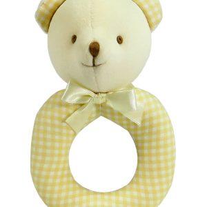 Caramel Check Bear Baby Ring Rattle by Kate Finn Australia