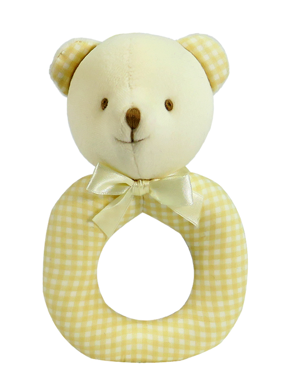 Caramel Check Bear Baby Ring Rattle by Kate Finn Australia