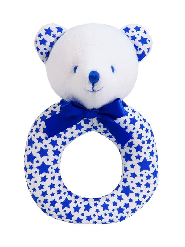 Blue Star Bear Baby Ring Rattle by Kate Finn Australia