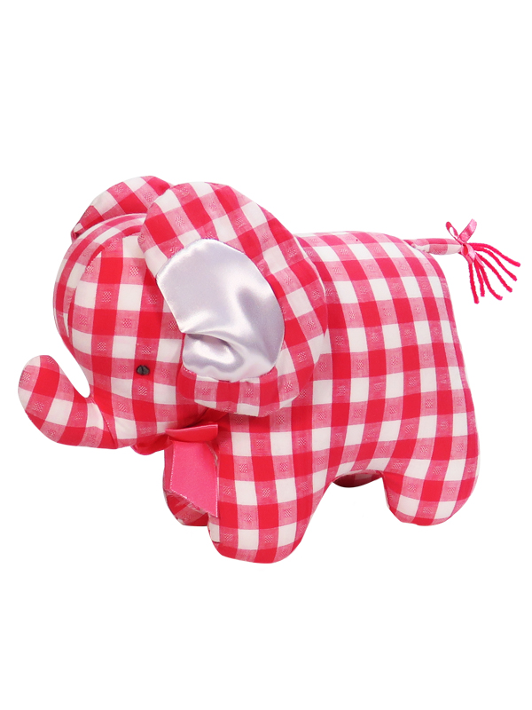 Tomato Check Elephant Baby Toy by Kate Finn Australia