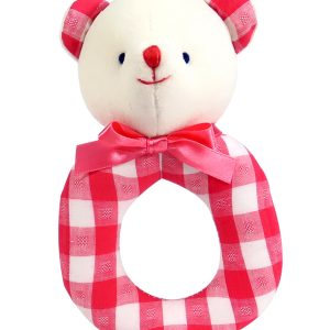 Tomato Check Bear Baby Ring Rattle by Kate Finn Australia