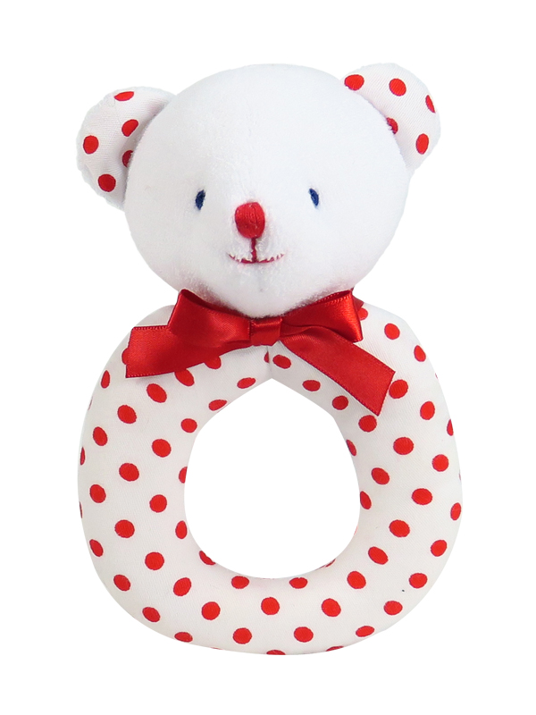 Red Dot Bear Baby Ring Rattle by Kate Finn Australia