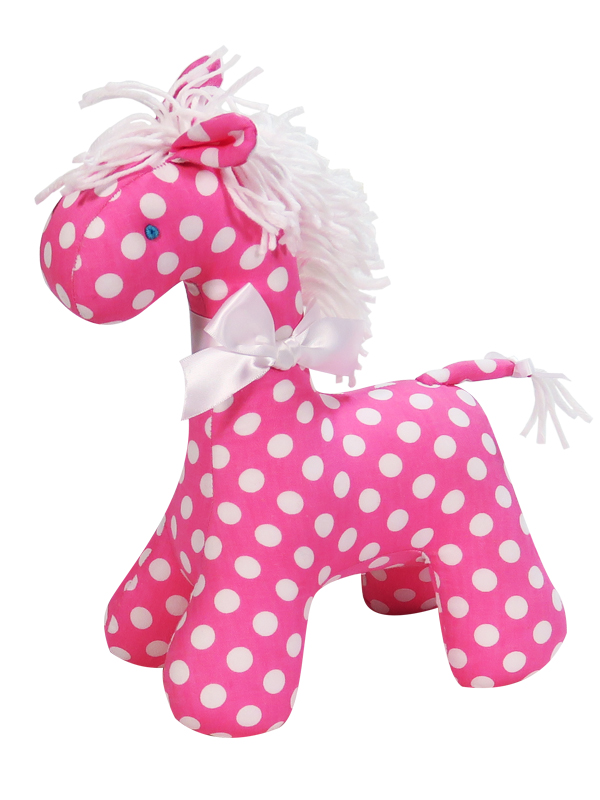 Pink White Dot Horse Baby Toy by Kate Finn Australia