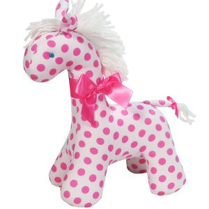 White Pink Dot Horse Baby Toy by Kate Finn Australia