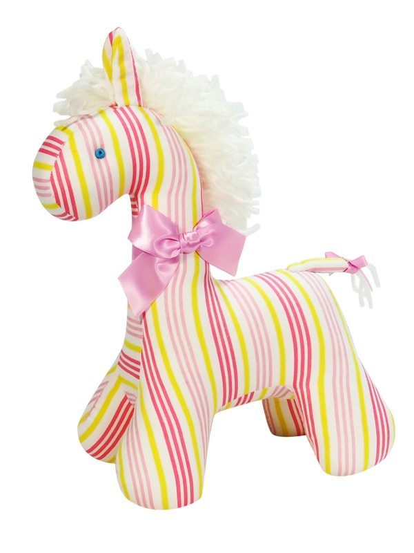 Peach Stripe Horse Baby Toy by Kate Finn Australia