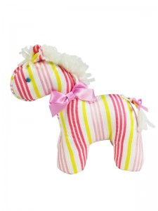 Peach Stripe Mini Horse Baby Toy by Kate Finn Australia