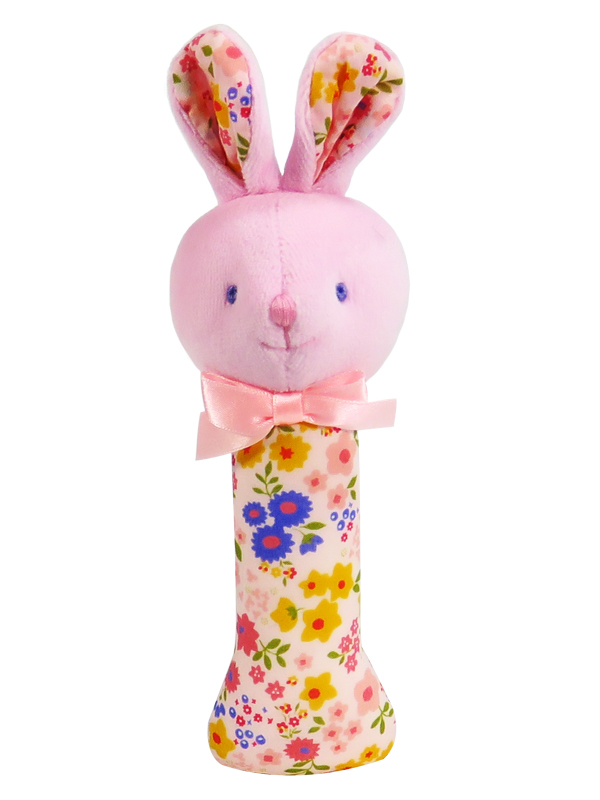 Peach Floral Bunny Baby Rattle by Kate Finn Australia