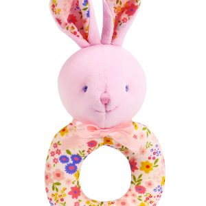 Peach Floral Bunny Baby Ring Rattle by Kate Finn Australia