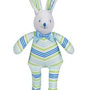 Aqua Lime Stripe Bunny Squeaker baby Toy by Kate Finn Australia