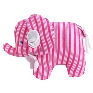 Fuchsia Ticking Mini Elephant Baby Toy By Kate Finn Australia