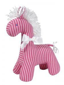 Fuchsia Ticking Horse Baby Toy by Kate Finn Australia