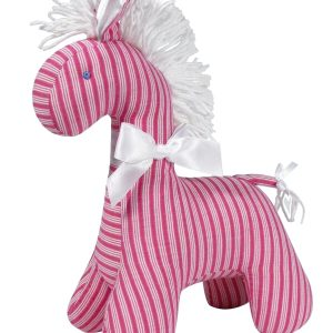 Fuchsia Ticking Horse Baby Toy by Kate Finn Australia