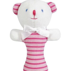 Fuchsia Ticking Bear Baby Rattle by Kate Finn Australia