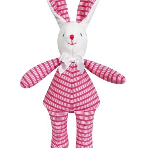 Fuchsia Ticking Bunny Squeaker Baby Toy by Kate Finn Australia