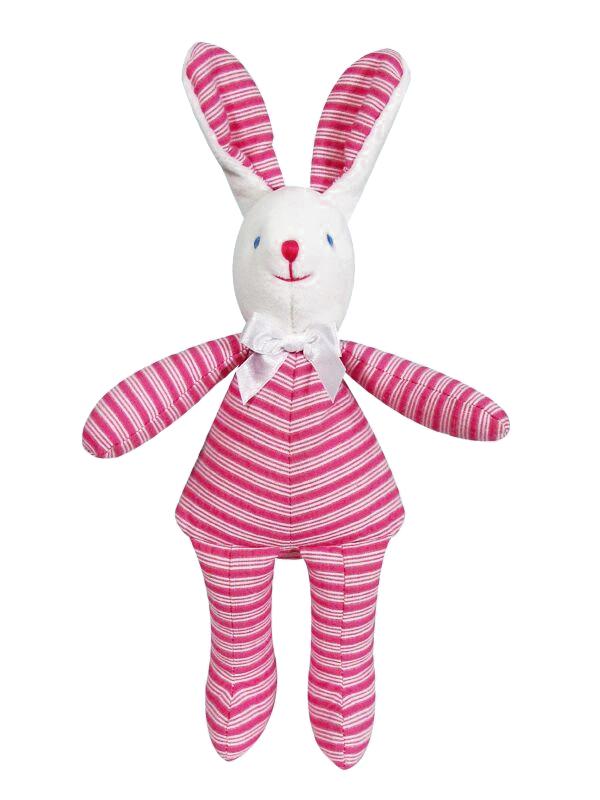 Fuchsia Ticking Bunny Squeaker Baby Toy by Kate Finn Australia