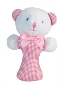Pink Micro Check Bear Baby Rattle By Kate Finn Australia