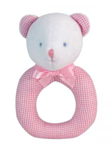 Pink Micro Check Bear Baby Ring Rattle