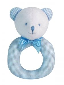 Blue Micro Check Bear Baby Ring Rattle by Kate Finn
