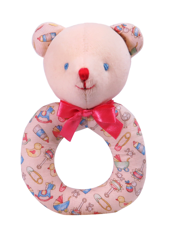 Baby Print Bear Baby Ring Rattle by Kate Finn Australia