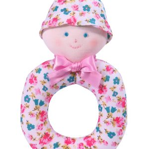 Pink Bouquet Dolly Baby Ring Rattle by Kate Finn Australia