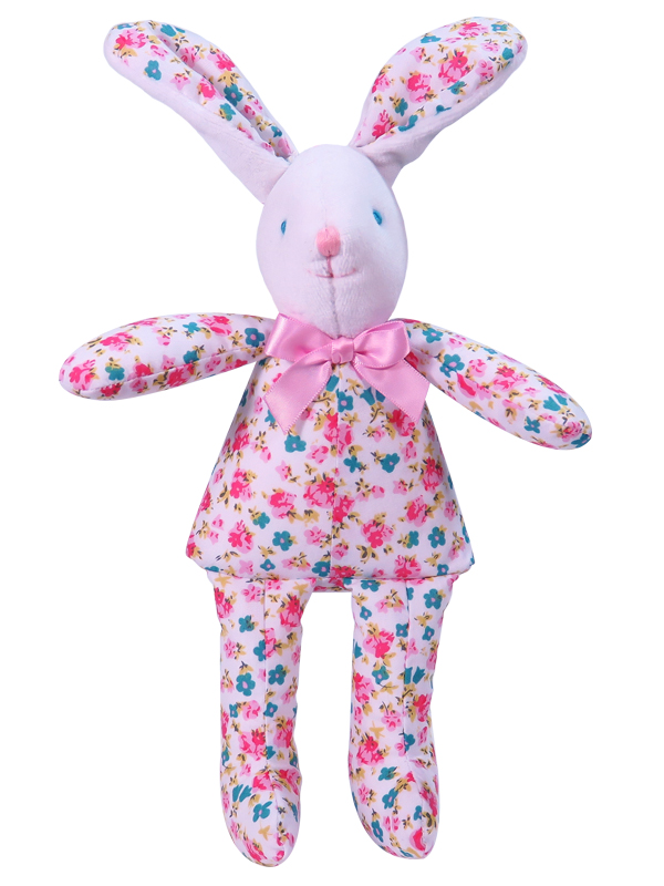 Pink Bouquet Bunny Squeaker Baby Toy by Kate Finn Australia