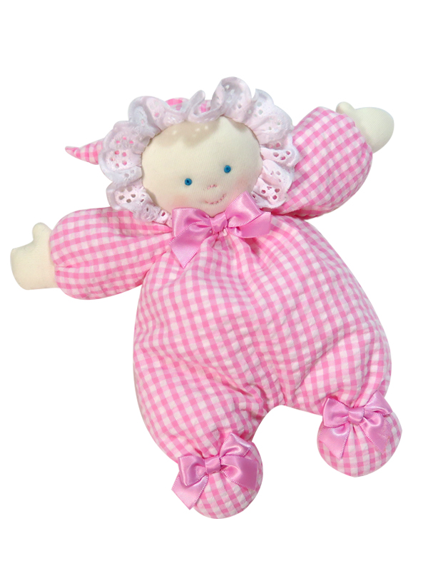 Pink Seersucker Check 21cm Floppy Rag Doll