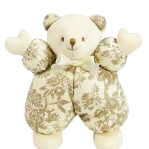 Antique Toile Puff Bear Baby Toy