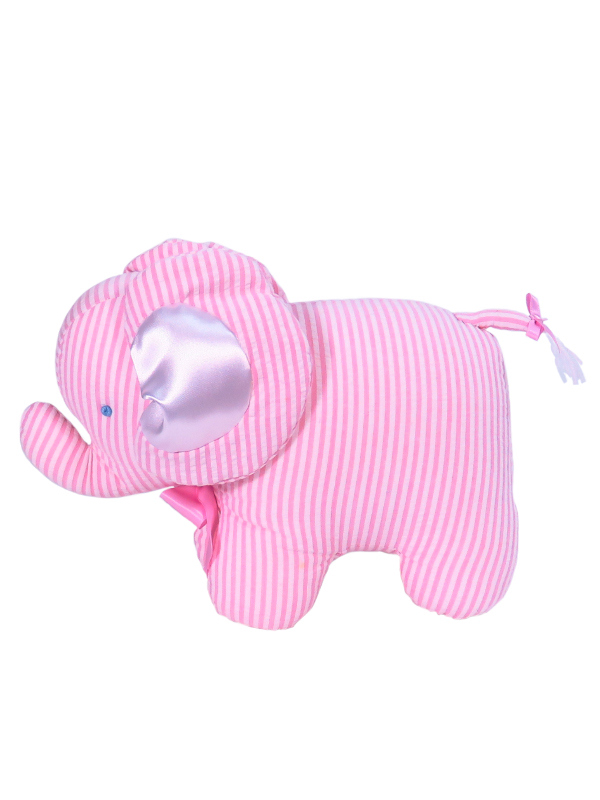Pink Seersucker Stripe Elephant Baby Toy by Kate Finn Australia