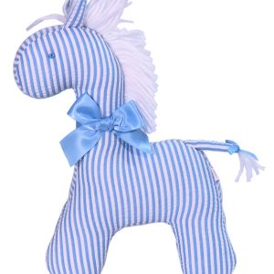 Blue Seersucker Stripe Horse Baby Toy by Kate Finn Australia