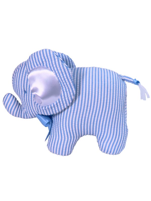 Blue Seersucker Stripe Elephant