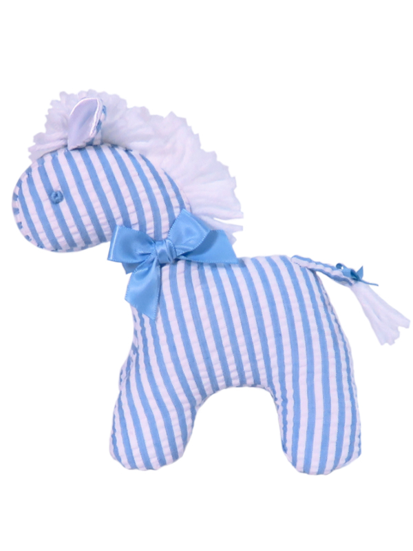 Blue Seersucker Stripe Mini Horse Baby Toy by Kate Finn Australia